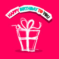 Happy birthday to you title with gift box outline on pink background illustration Stock Image