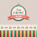 Happy birthday to you vintage greeting card Royalty Free Stock Images