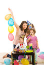 Happy birthday of toddler boy with cake balloons and soap bubbles Royalty Free Stock Photos