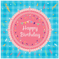 Happy birthday - Top view pink cake and ribbon party on blue fabric background vector design Royalty Free Stock Photo