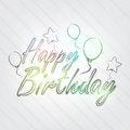 Happy birthday typography background in retro style with balloons and label Royalty Free Stock Photography