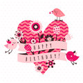 Happy birthday vector card in light and dark pink and brown colors with birds, flowers, ribbon and heart