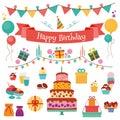 Happy Birthday Vector Flat Design Icons Set