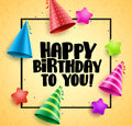 Happy birthday vector greetings card design with boarder