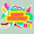 Happy birthday vector illustration of card with cake and gifts Stock Photos