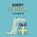 Happy Birthday vector lettering, party illustration with baby croc