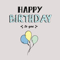 Happy Birthday vector lettering, party illustration with balloons