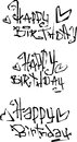 Happy birthday wish cut out liquid curly graffiti fonts Royalty Free Stock Photo