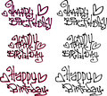 Happy birthday wish hand drawn liquid curly graffiti fonts Royalty Free Stock Photo