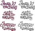 Happy birthday wish hand drawn liquid curly graffiti fonts Royalty Free Stock Photo