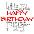 Happy Birthday Word Cloud Concept in red & black Stock Photo