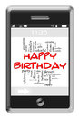 Happy Birthday Word Cloud Concept on Touchscreen Phone Stock Photos