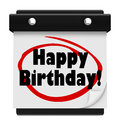 Happy birthday words wall calendar surprise celebrate the circled on a to remind you to have fun and on your special annual day Royalty Free Stock Image