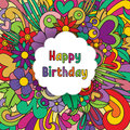 Happy Birthday zentangle greeting card. Vector zen tangle pattern. Postcard with colorful flowers.