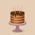 Happy birthdays cake birthday chokolate with candles Stock Photography