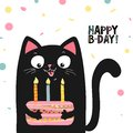 Happy black cat with cake and lettering happy birthday , vector illustration EPS 10