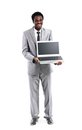 Happy black man showing laptop Royalty Free Stock Photos