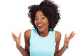 Happy black woman looking surprised white Royalty Free Stock Photos