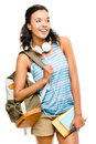Happy black woman student going back to school mixed race Royalty Free Stock Photo