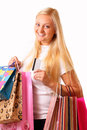Happy blonde shopping woman Stock Image