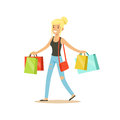Happy blonde woman in a casual clothes walking with shopping bags colorful character vector Illustration