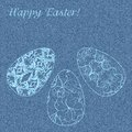 Happy blue jeans background with delicate easter eggs vector illustration Royalty Free Stock Photos