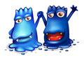Happy blue monsters in one team illustration of the on a white background Royalty Free Stock Images