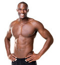 Happy bodybuilder with muscular physique Royalty Free Stock Photography