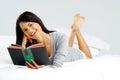 Happy book reading woman Royalty Free Stock Photo