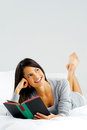 Happy book reading woman Royalty Free Stock Photo