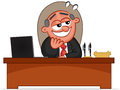 Happy boss man looking cartoon laughing and Royalty Free Stock Photography