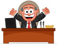 Happy Boss is Sitting Behind His Desk Royalty Free Stock Images