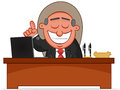 Happy Boss is Sitting Behind His Desk Royalty Free Stock Image
