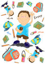 Happy boy with accessories cartoon drawing Royalty Free Stock Photos
