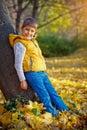 Happy boy in the autumn park