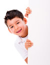 Happy boy with a banner isolated over white background Royalty Free Stock Image