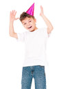 Happy boy in birthday cap funny isolated on white background Stock Image