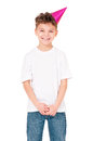 Happy boy in birthday cap funny isolated on white background Stock Photography