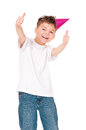 Happy boy in birthday cap funny isolated on white background Royalty Free Stock Photos