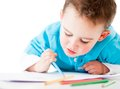 Happy boy coloring Royalty Free Stock Photo