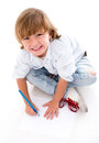 Happy boy coloring little isolated over a white background Stock Image