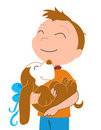 Happy boy with a dog-vectorial illustration Stock Photos