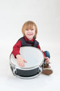 Happy boy with drum Royalty Free Stock Photo
