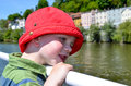 Happy boy on an exhibition boat in summertime Royalty Free Stock Image