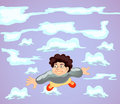 Happy boy fly on cloud Royalty Free Stock Photography