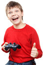 Happy boy with gamepad in hands is isolated on a white background very emotional Stock Image