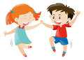 Happy boy and girl dancing Royalty Free Stock Photo