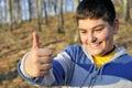 Happy boy giving ok Stock Image