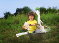 Happy boy in hand made ship outdoors play Royalty Free Stock Photo
