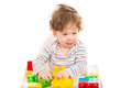 Happy boy having fun with toys toddler building bricks and playing Royalty Free Stock Photos